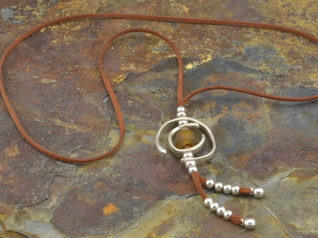 boho long necklace with glass beads