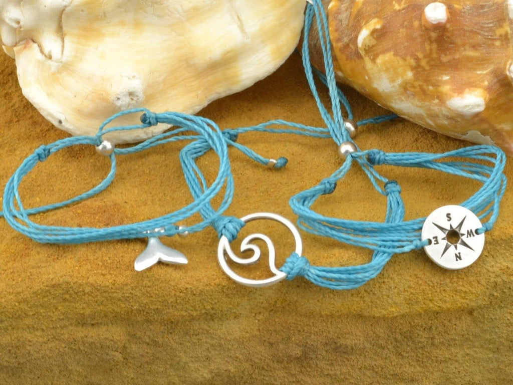 compass rose string bracelet stack