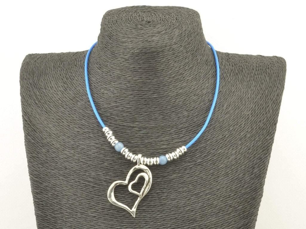 double heart beaded necklace