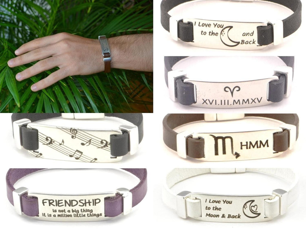 mens leather bracelet with custom engraving