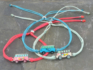 blue hippie van string bracelet stack