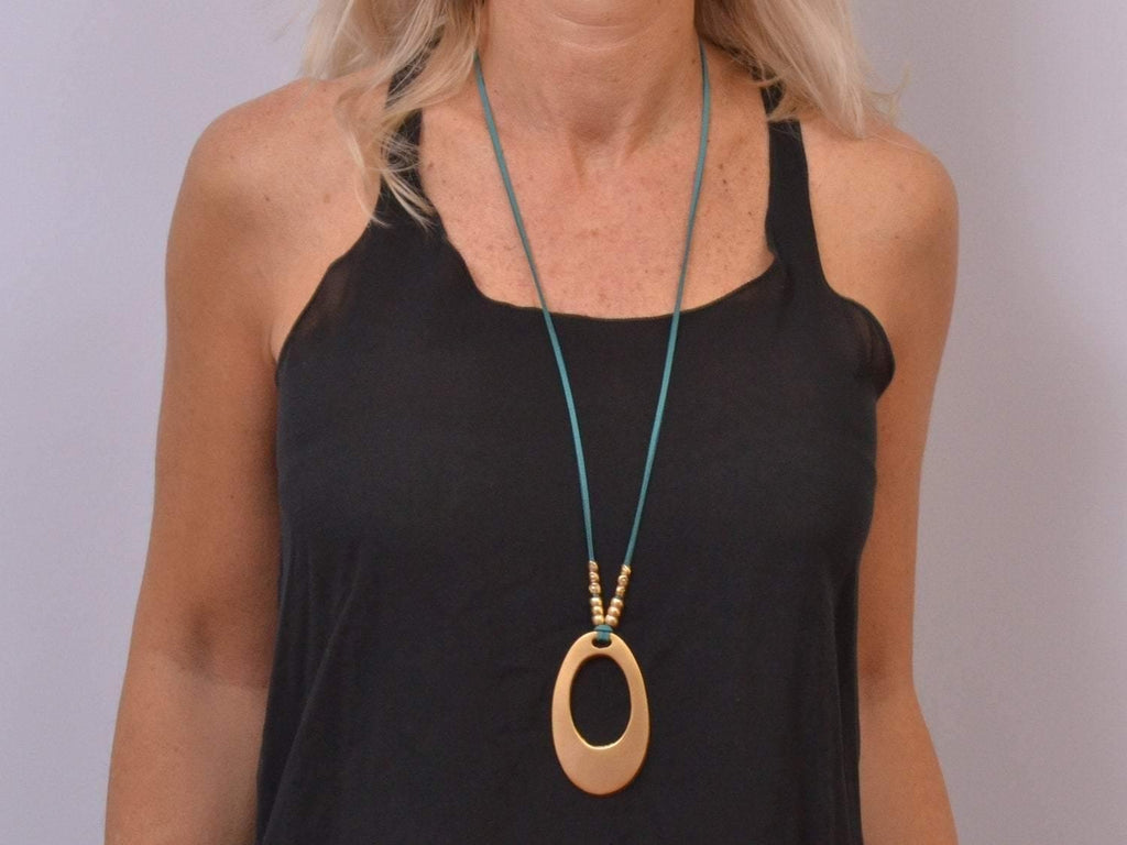 boho long necklace with oval pendant