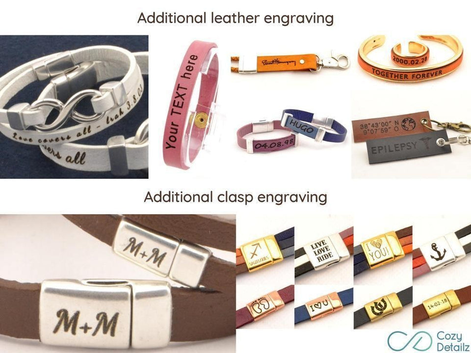 custom signature leather bracelet