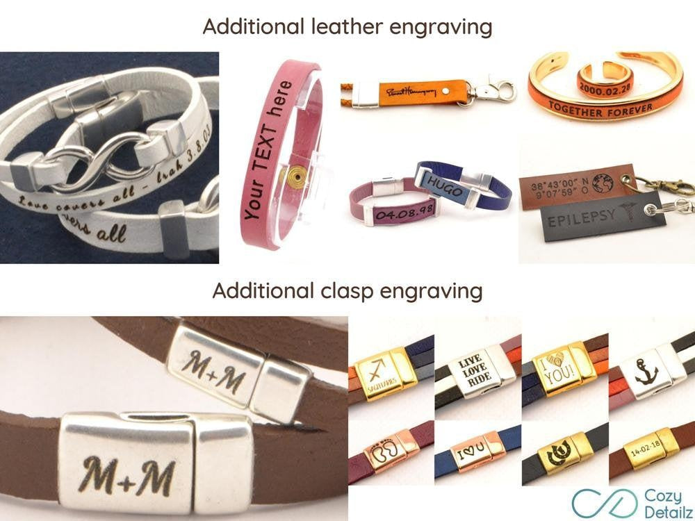 handwriting double wrap leather bracelet