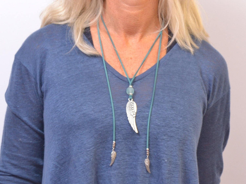 boho lariat necklace with angel wings