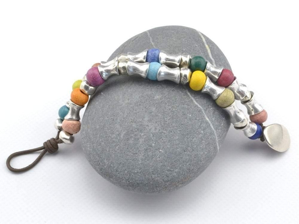 double strand boho leather bracelet with ceramic beads