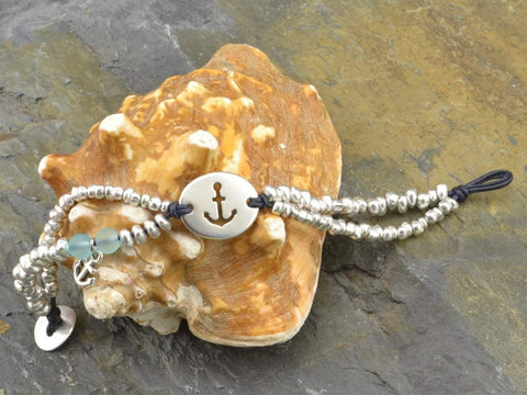 COZY DETAILZ - Bracelets -  woman beaded bracelet with anchor charm, stacking anchor bracelet beaded, anchor jewelry