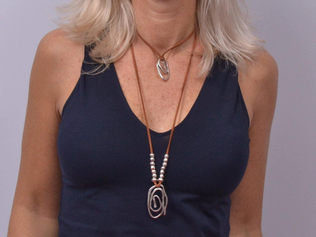 double layer necklace with spiral pendant