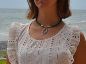 leather necklace with ethnic drop pendant