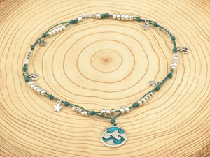 wave necklace turquoise charm necklace ocean sea necklace, zamak sea charms, beach jewelry