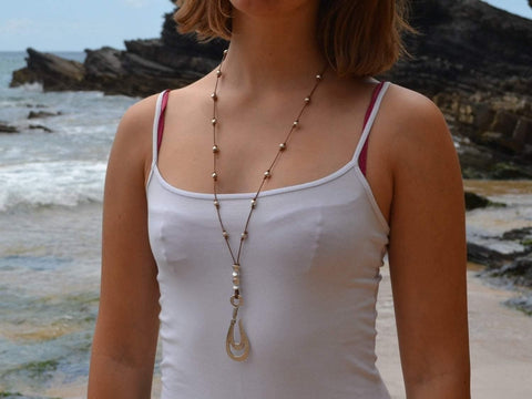 bohemian necklace with fish hook pendant