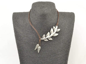 feather leather necklace for women