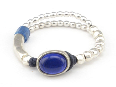 royal blue beaded bracelet for woman