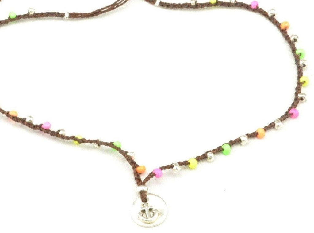 beaded beach necklace with anchor pendant