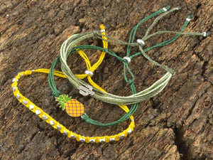 pineapple tropical bracelet stack, pineapple jewelry
