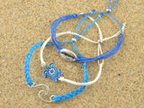 sea turtle cowrie shell beach stacking bracelets, sea charms bracelets stack