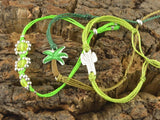 tropical bracelet stack, palm tree cactus bracelet flowers beaded, palm tree stacking bracelet set