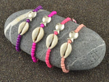 cowrie shell seed beads stacking bracelet, boho natural seashell beach jewelry