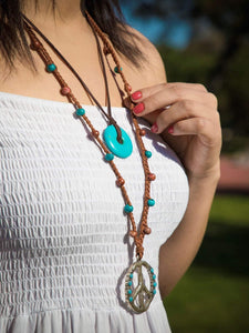 Women boho layering necklace, turquoise beaded necklace for women, long necklace with peace pendant