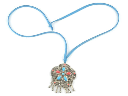 Tibetan necklace large medallion with turquoise and red beads