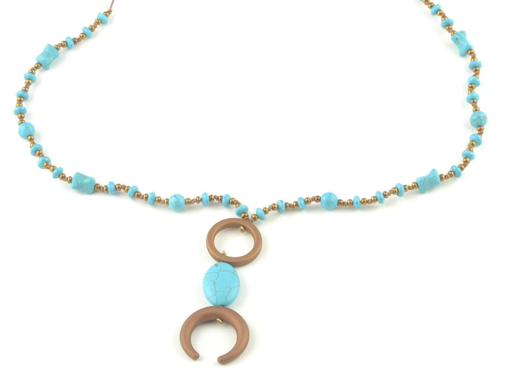 turquoise beaded necklace boho layering with double horn pendant, turquoise jewelry for women