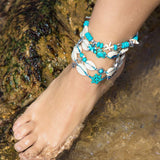 turquoise turtle anklet with natural cowrie shell, foot jewelry boho beach anklets, turtle jewelry