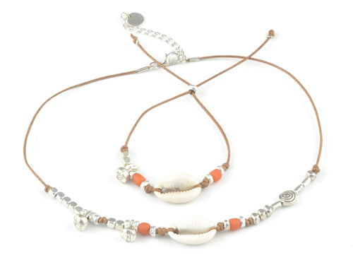 cowrie shell jewelry set for women, necklace bracelet set with cowrie shell and java glass beads