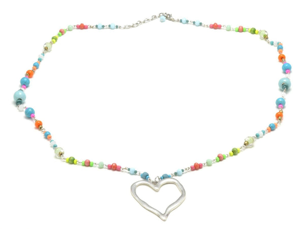 long beaded necklace with heart charm for woman, multicolor boho bead necklace, silver heart pendant necklace