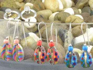 sterling silver earrings with painted cowrie shell, boho cowrie shell earrings, summer earrings