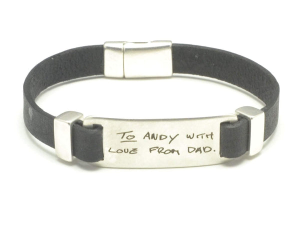 Engraved Signature Leather Bracelet, Actual Handwriting Jewelry, Personalized Keepsake, Family Handwriting Gift, Memorial Jewelry