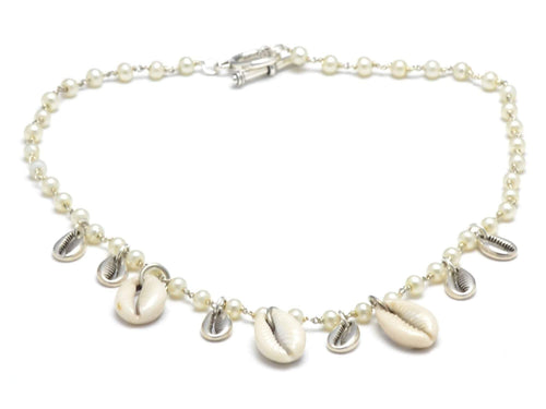 cowrie shell necklace with freshwater pearls, natural cowrie shell choker, shell necklace beach jewelry