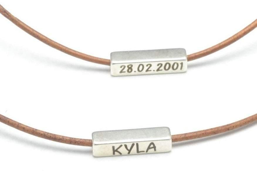 personalized horizontal bar necklace, sisters necklace with custom engraving