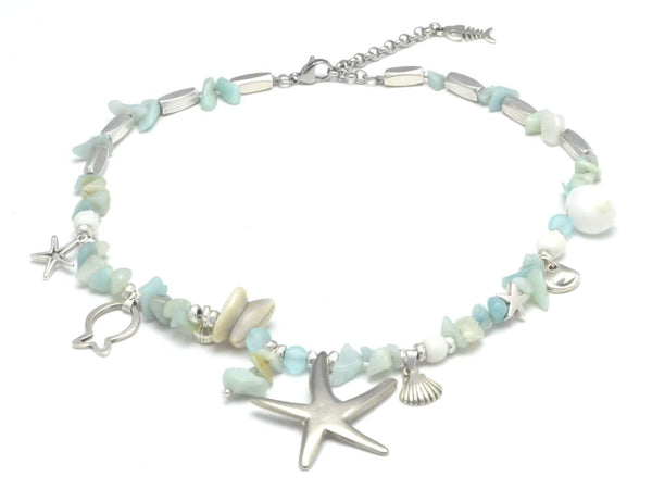 natural amazonite chips beaded necklace with ocean charms, summer jewelry starfish necklace with shells