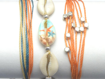 cowrie shell stack, mussel string bracelet, gifts for teens