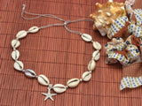 white and silver cowrie shell necklace with starfish charm, shell jewelry handmade necklace, free shipping starfish necklace