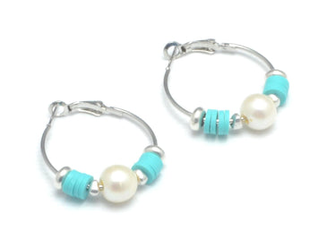 heishi beads hoop earrings with freshwater pearl, hoop earrings  summer colors 6MM heishi vinyl disk