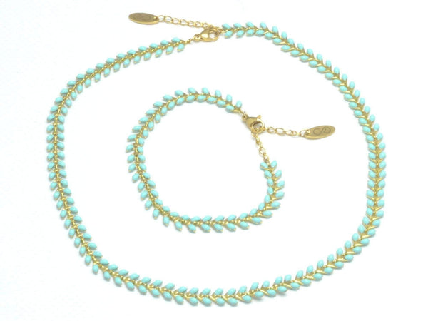 turquoise chevron necklace, layering necklace turquoise fishbone chain bracelet, enamel stainless steel chain anklet