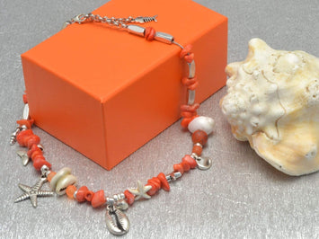 coral chips beaded necklace with starfish and cowrie shell, coral necklace summer jewelry starfish necklace with shells