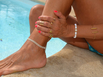 White Chevron Anklet Bracelet, White Chain Layering Necklace Fishbone White Chain Bracelet