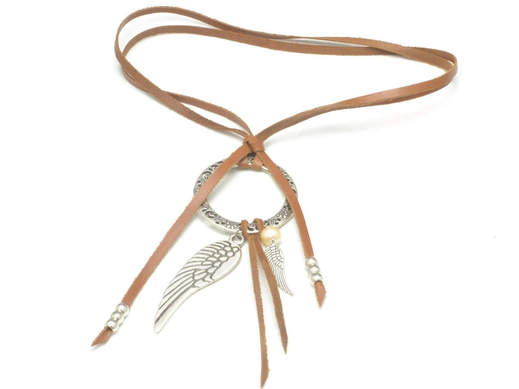 Woman Leather Necklace, Boho Wrap Lariat Necklace, Silver Angel Wing Necklace, Leather Wrap Necklace for Women,  Necklace Bohemian Women