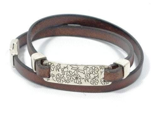 Mothers Day Gift engraved leather bracelet, personalized leather bracelet, flower engraved bracelet