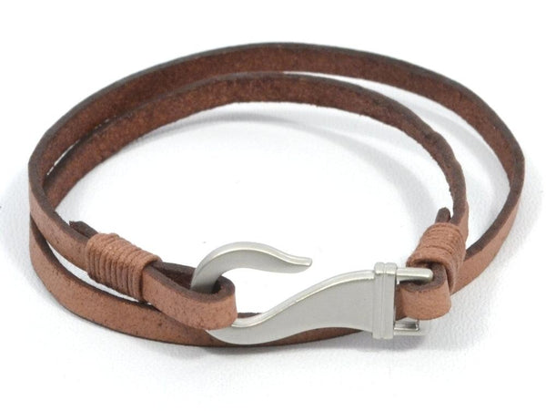 fish hook wrap leather bracelet