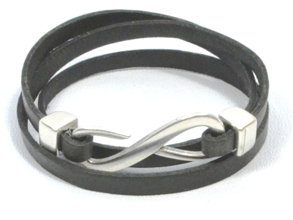 triple wrap leather bracelet with infinity clasp