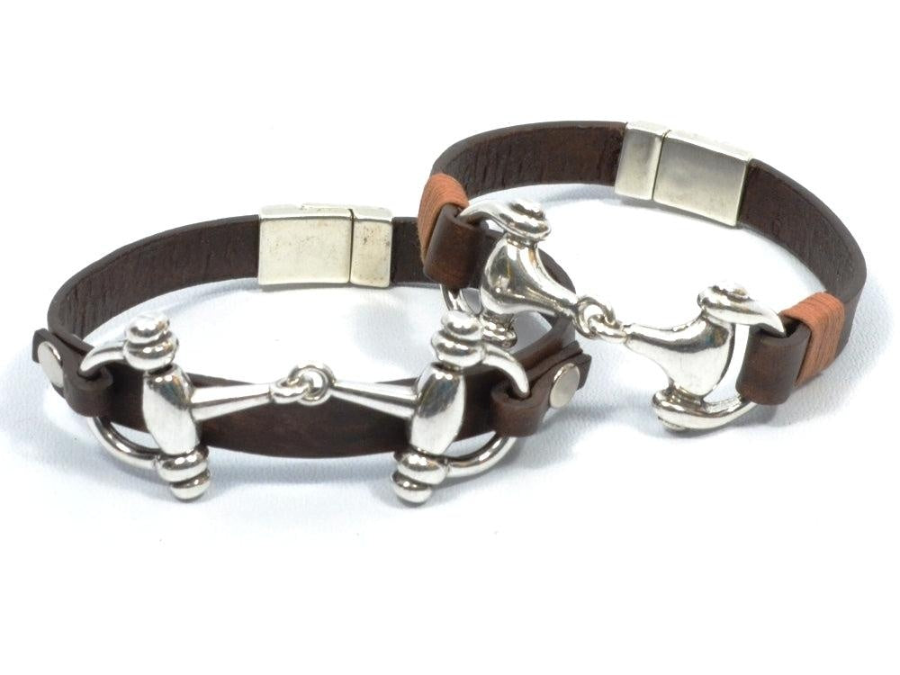 snaffle bit couples leather bracelets