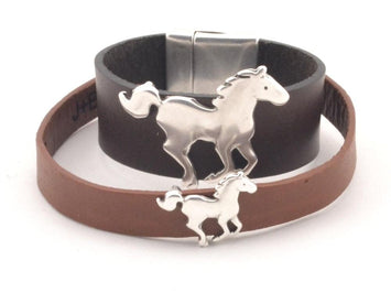 Couples Horse Leather Bracelet