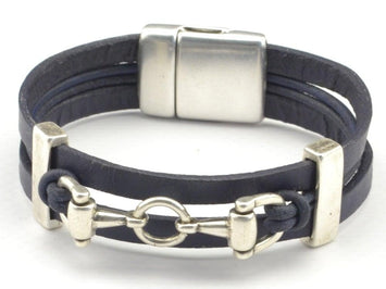 snaffle bit leather bracelet