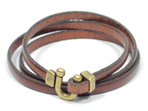 couples leather bracelets with horseshoe clasp