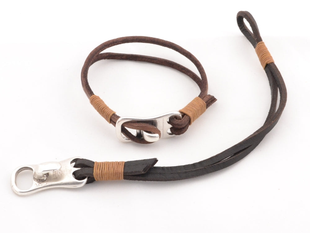 couples leather bracelet with hook clasp