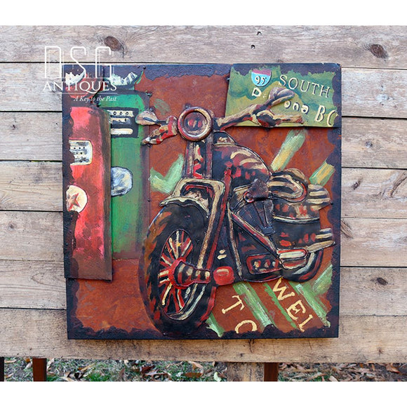 3D Motorcycle Art Rt 95 South Metal Biker Art Wall Decor Mixed Media Motorsport