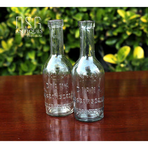 Antique Diana Sosborszesz Franzbrantwein Royal Bottles Set Of Two Hungarian Liquor Methanol Early 1900S